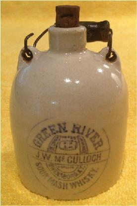 Fake Miniature Green River Whiskey Jug. The Green River Whiskey patented inscription looks like the genuine inscription, but the jug does not.