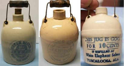 Suspicious Miniature Jugs, one of which features Green River Whiskey