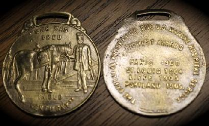 Green River Whiskey Watch Fob -- FAKE Brass